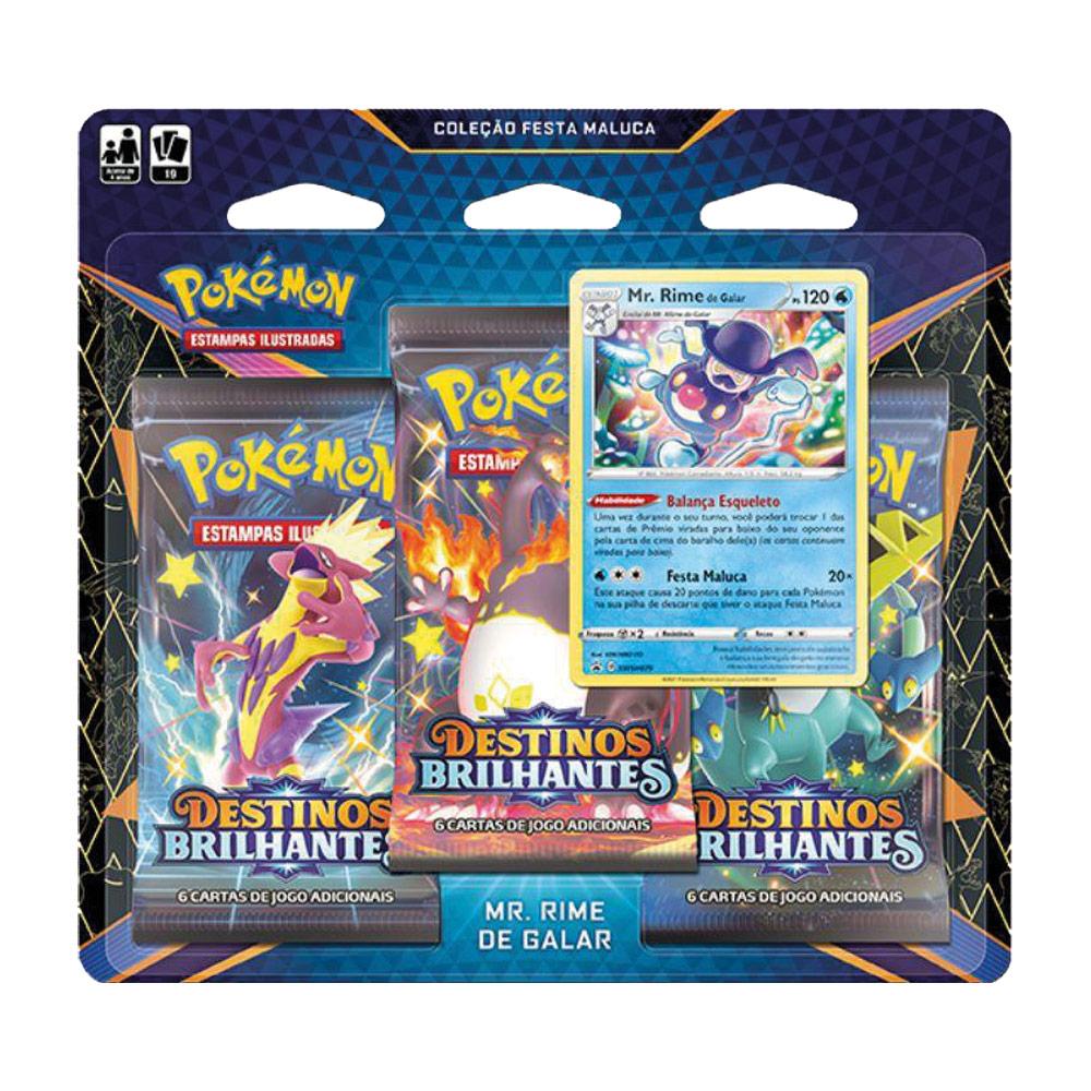 Kit Cartas Pokémon Blister Triplo 3 Pacotes + 1 Carta Mr. Rime de Galar