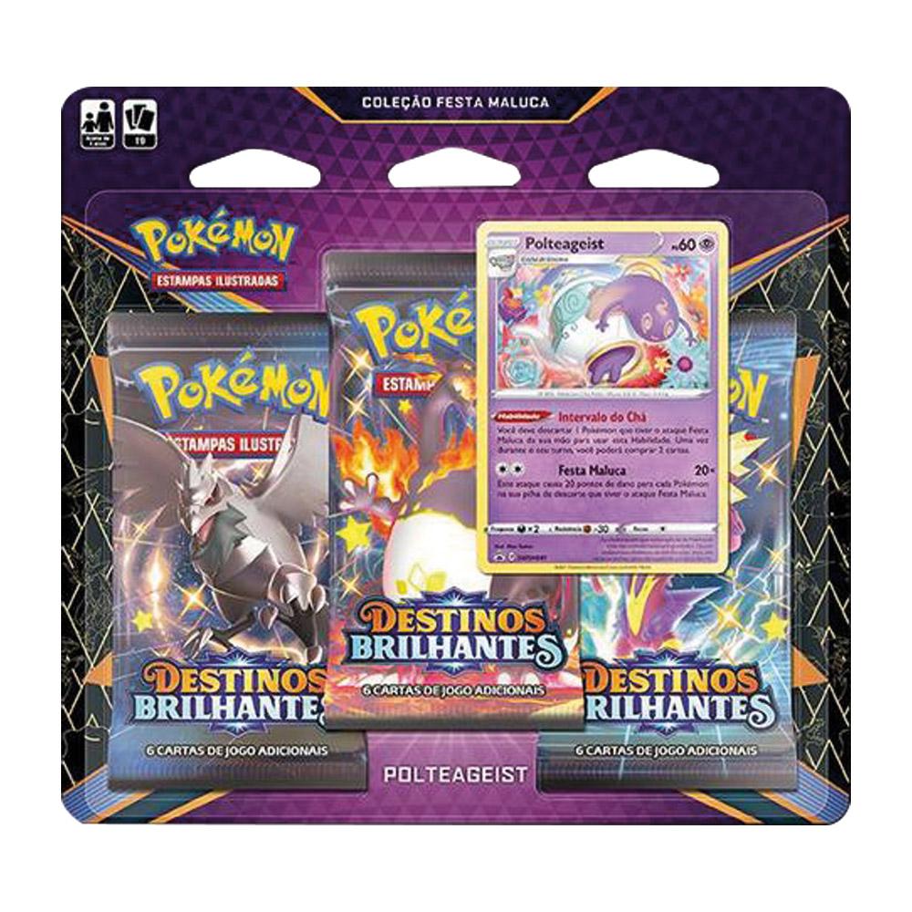 Kit Cartas Pokémon Blister Triplo 3 Pacotes + 1 Carta Polteageist