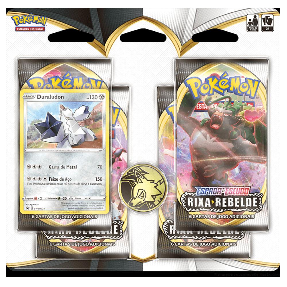 Kit Cartas Pokémon EE2 Blister Quadruplo 4 Pacotes + 1 Carta Duraludon Rixa Rebelde
