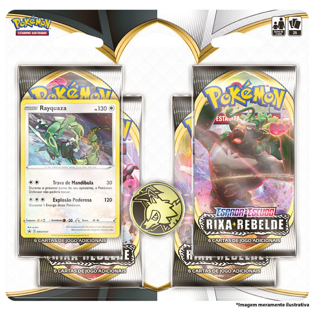 Kit Cartas Pokémon EE2 Blister Quadruplo 4 Pacotes + 1 Carta Rayquaza  Rixa Rebelde