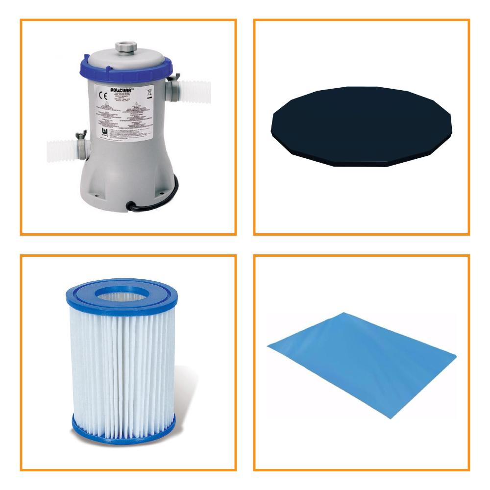 Kit Filtro 2.006 Litros/Hora + Capa 366 Estrutural e Forro Bestway