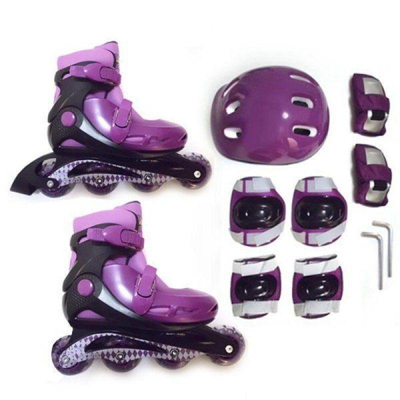Kit Patins Roller Inline Completo + Proteção Roxo