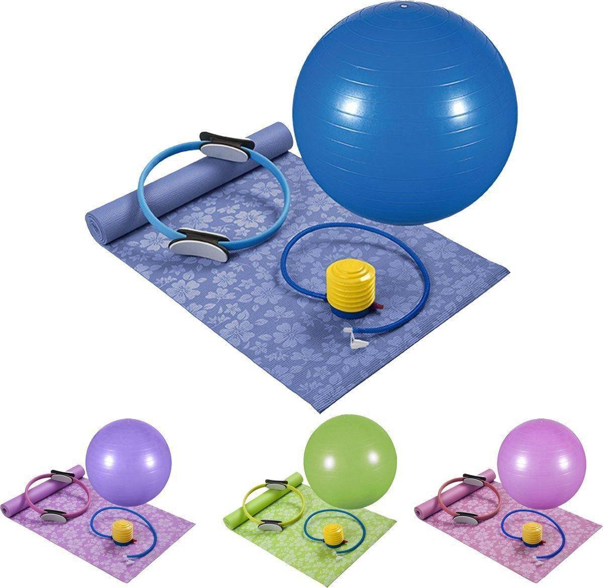 Kit Pilates 4 Peças Bola 65cm + Tapete + Bomba + Anel - Mor