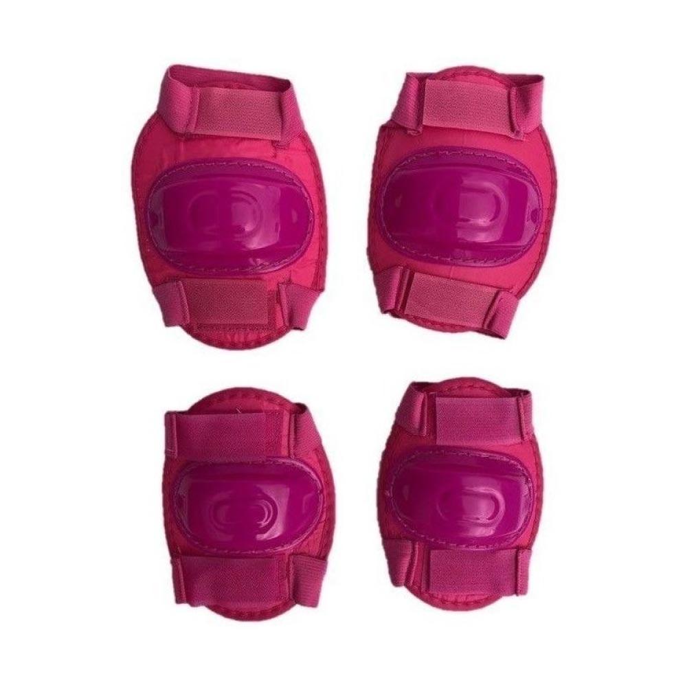 Kit Proteção Infantil Completo Capacete Joelheira Cotoveleira Rosa Lotus