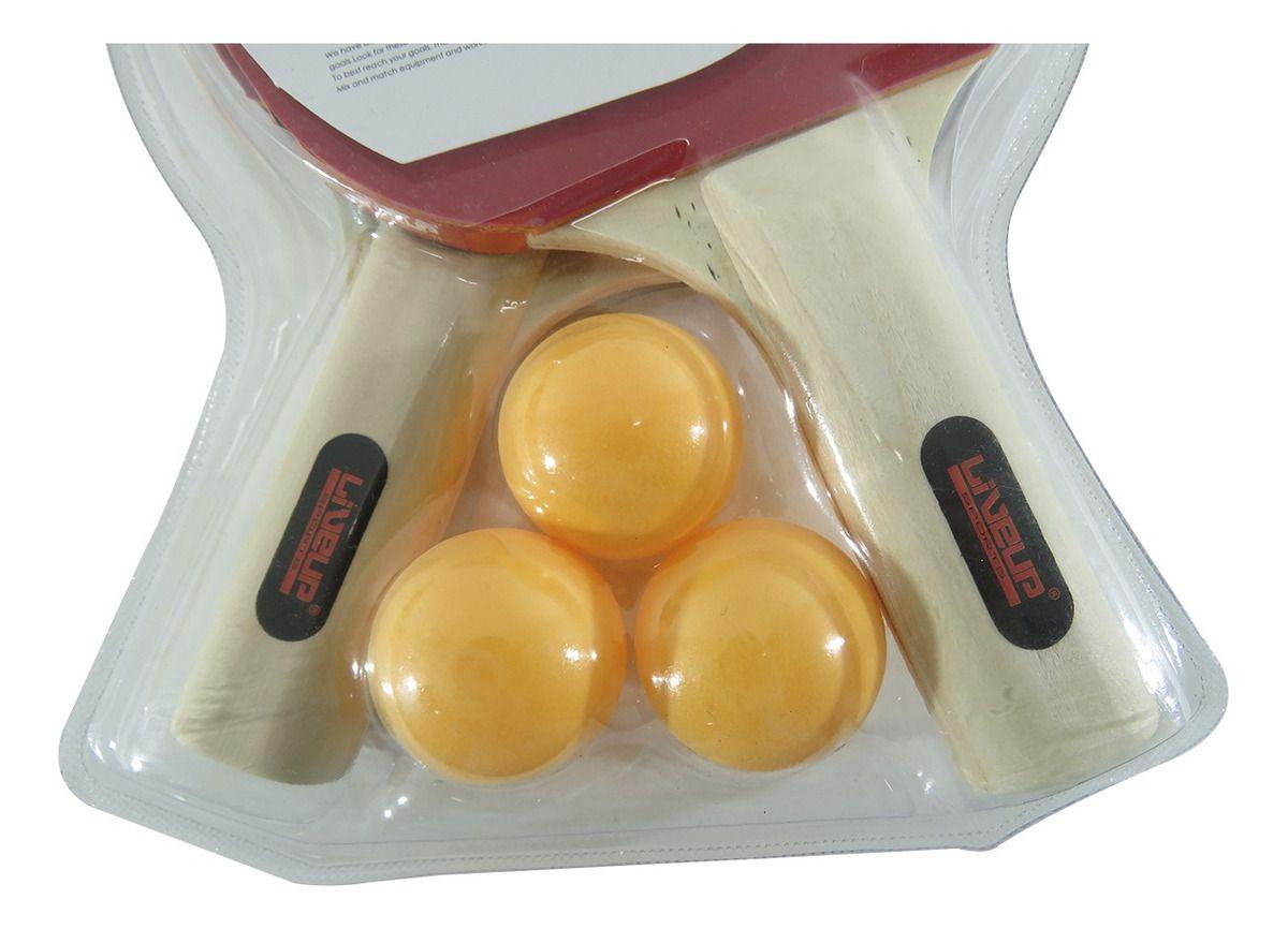 Kit Raquetes + 3 Bolinhas Ping Pong Liveup