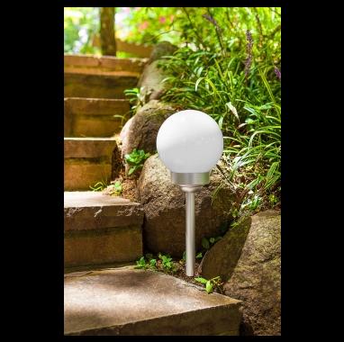 Luminária Solar Globo Inox fotossensível - Ordene