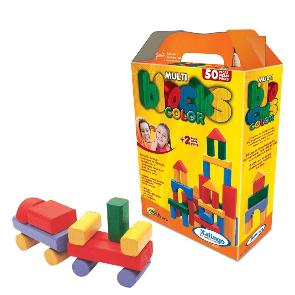 Multi Blocks Coloridos Com 50 Peças Em Madeira 52821 Xalingo