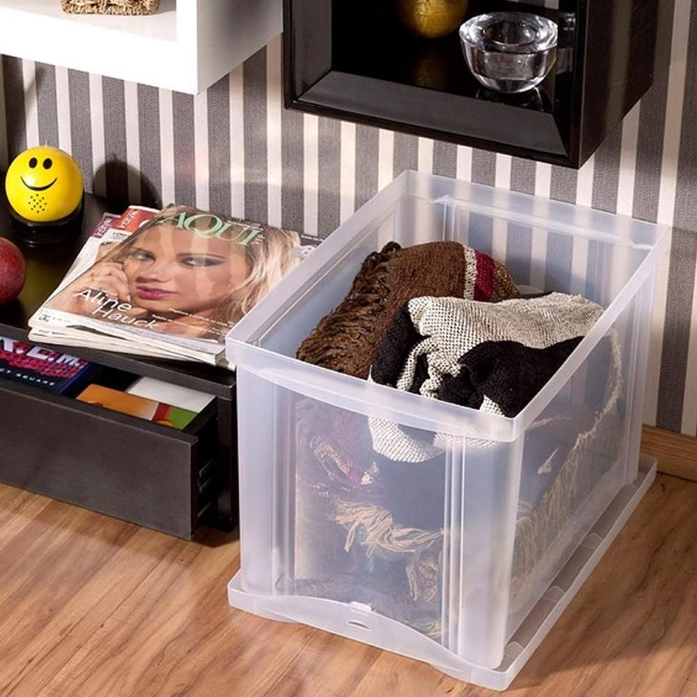 Organizador Plástico Medio Alto 30 Litros Transparente Ordene
