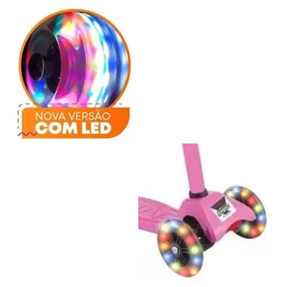 Patinete 3 Rodas Com Luzes de Leds Spin