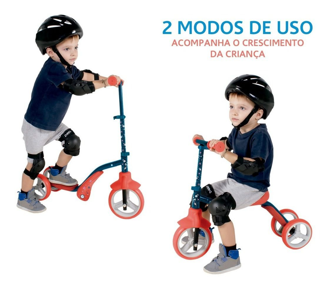 Patinete Infantil 2 Em 1 Vira Triciclo Bibiciclo Bel