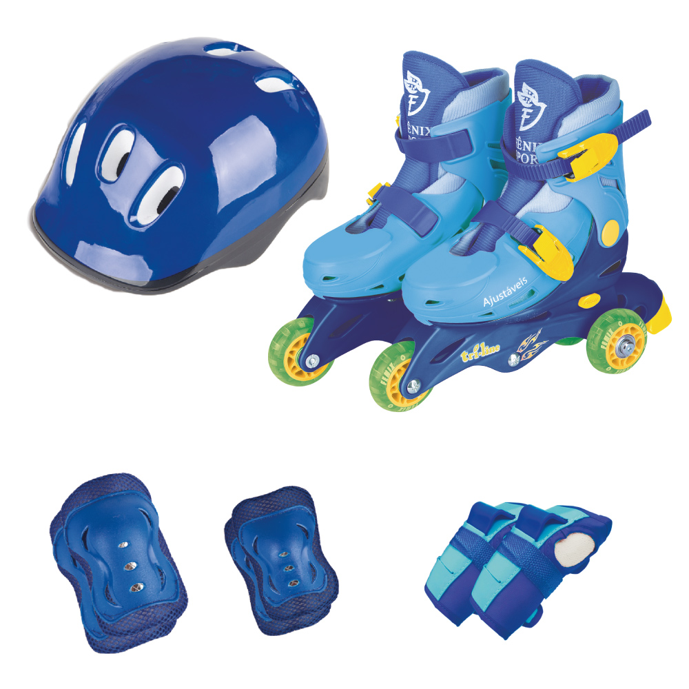Patins Ajustável Triline Com kit Proteção Azul Fenix