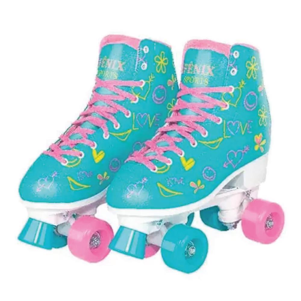 Patins Fenix 4 Rodas Roller Skate Ajustável Azul Fenix