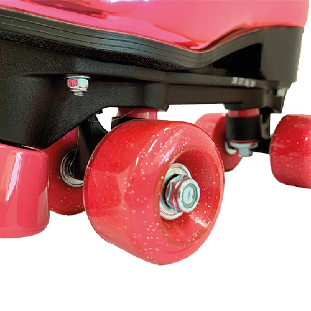 Patins Shine Ajustável com 4 Rodas Rosa Platinado Brilhante - Fenix