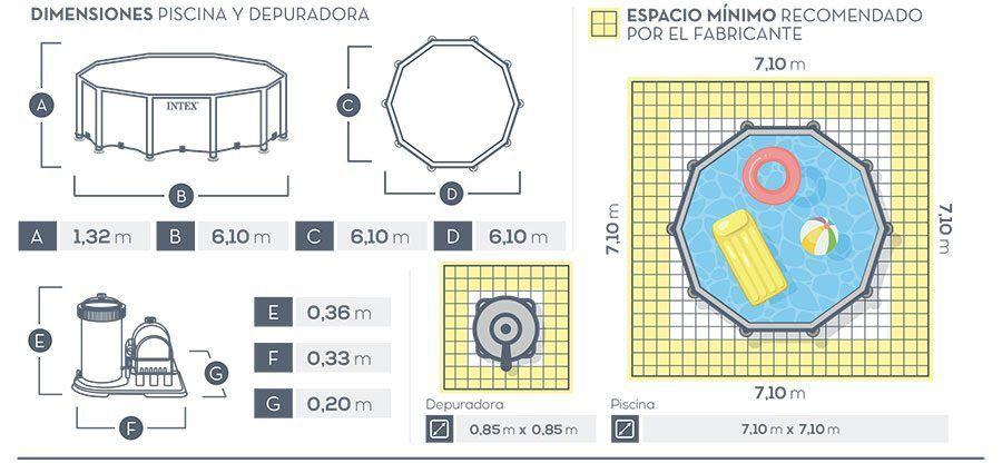 Piscina Estrutural 32.695 Litros Prism Completa Intex