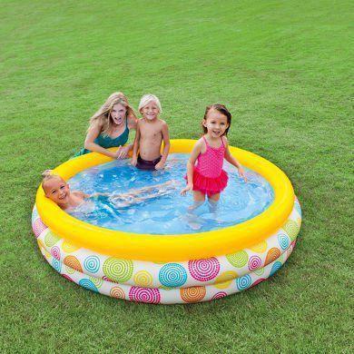 Piscina Inflável Infantil 3 Anéis 288 litros Colorida - Intex