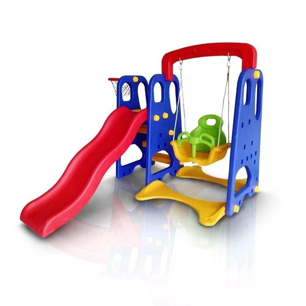 Playground Infantil 3x1 Escorregador Balanço e Cesta Importado