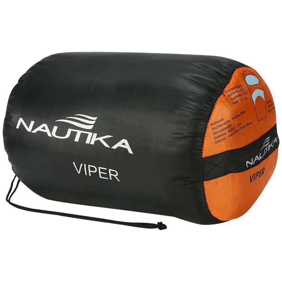 Saco De Dormir C/ Capus Viper 5ºc A 12ºc - Nautika + Sacola Laranja