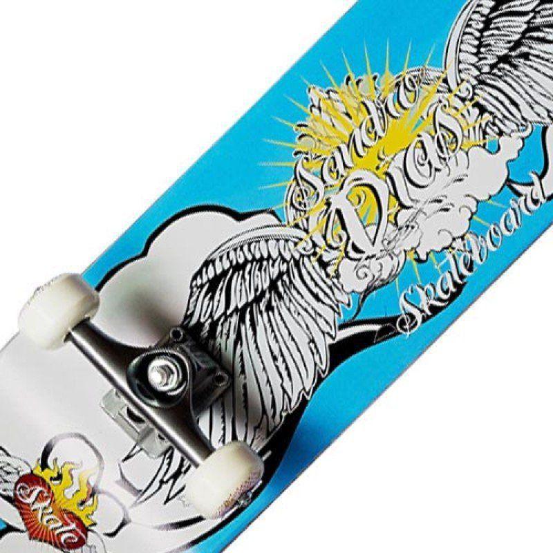 Skate Completo Profissional Sandro Dias Mineirinho Abec5 90a Azul