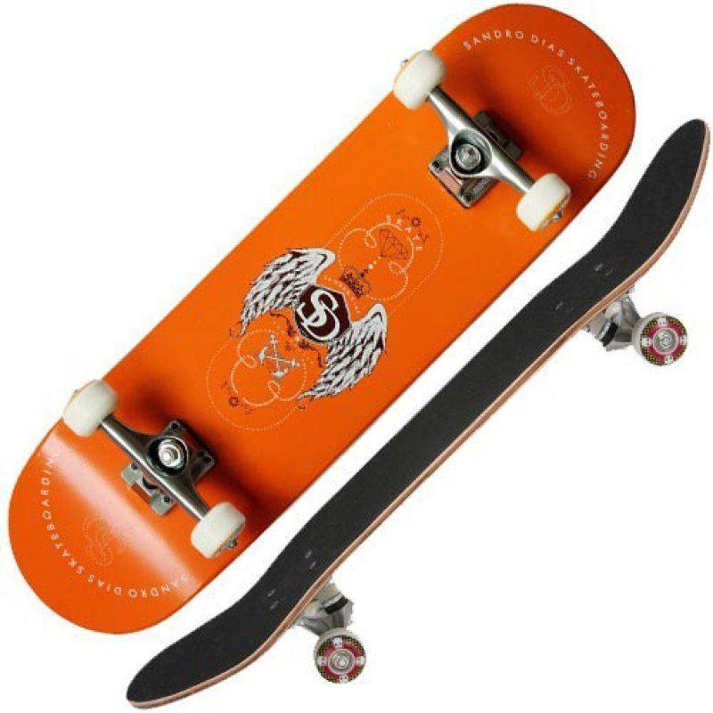 Skate Completo Profissional Sandro Dias Mineirinho Abec5 90a Laranja