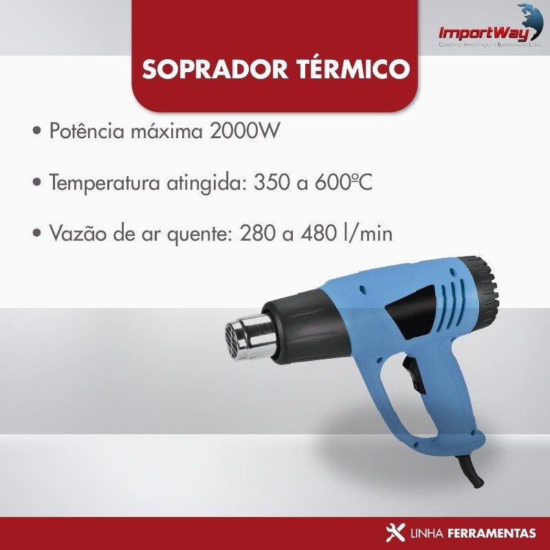Soprador Térmico Pistola Ar Quente 2000w 600ºc 220v importado