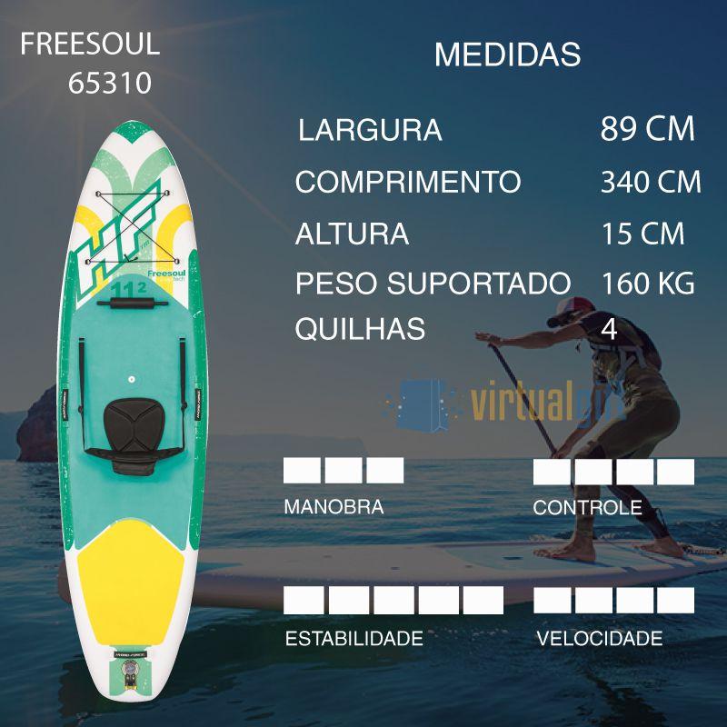 Stand Up Inflável Freesoul c/ Leash + Assento + Remo + Bomba  + Bolsa Bestway