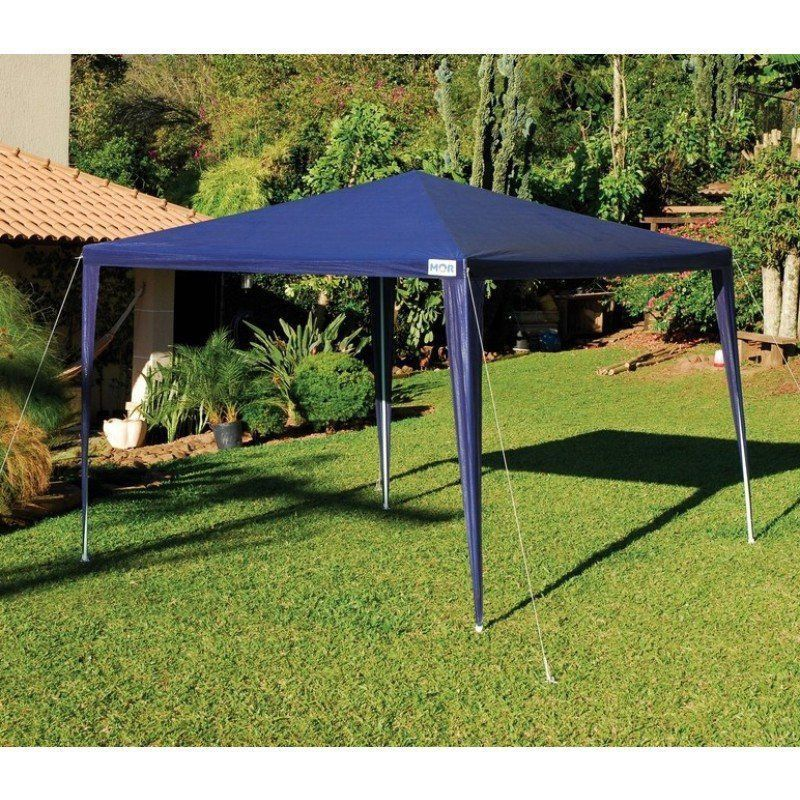 Tenda Gazebo Poliéster Oxford 3m X 3m  Azul - Mor