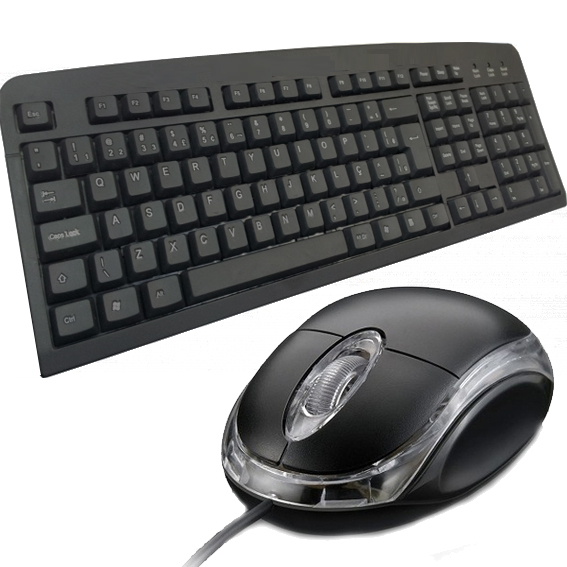 Kit teclado usb + mouse usb básico standart com fio