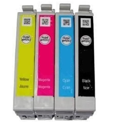 Kit Cartuchos Epson TX105 TX115 4 cores T117 Preto + 73n Ciano Amarelo Magenta