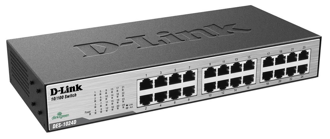 Switch D-Link 24 Portas Plug & Play 10/100Mbps DES-1024D