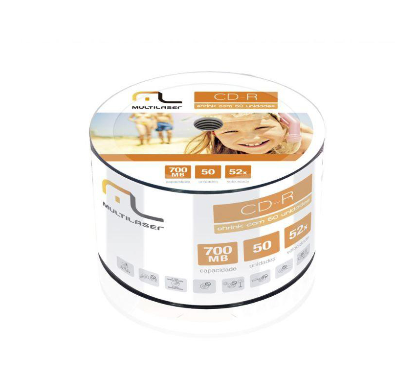 CD-R 52X 700MB Imprimivel Printable Multilaser C/ 50 unidades CD052