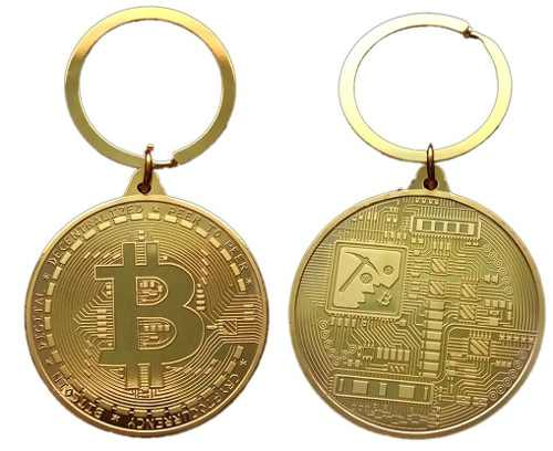 15 Chaveiro Bitcoin Dourado 4cm - Banhado A Ouro