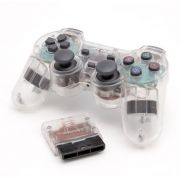 Joystick Controle Playstation 2 Transparente S/ Fio Wireless Knup NS-2020A