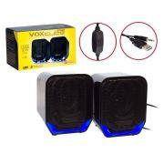 Caixa De Som USB 2.0 P2 8w Rms Preto/Azu Vc-d360 Voxcube