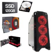 Computador Gamer CPU Amd Ryzen 3 2200G 3.5GHZ 8GB DDR4 SSD 120GB HD 1TB RX 580 8GB