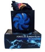 Fonte Atx Epic Power 750w Reais Cooler 120mm Azul C/cabo Box EP-C750