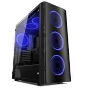 Gabinete Gamer ATX W1 Blue c/ 4 Cooler Fan Blue Vidro Lateral