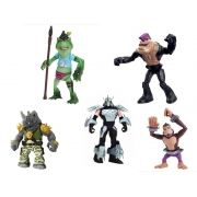 Kit c/ 5 Vilões Tartarugas Ninja, Shredder, Napoleon Bonafrog, Monkey Brains, Rocksteady e Bebop Br118