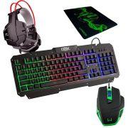 Kit Gamer Luminoso Teclado + Mouse 3200dpi + Headset + Mouse Pad