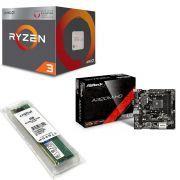 Kit Placa Mãe Asrock A320M + Processador AMD Ryzen 3 2200G 3.5GHZ Quad Core + 4GB DDR4 2400MHZ