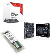 Kit Placa Mãe Asus prime A320M-K + Processador AMD A6 9500 + 4GB DDR4 2400MHZ Crucial