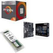 Kit Placa Mãe Asus prime A320M-K + Processador AMD Ryzen 5 2400G + 4GB DDR4 2400MHZ Crucial