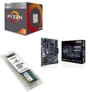 Kit Placa Mãe Asus prime A320M-K + Processador AMD Ryzen 3 2200G + 4GB DDR4 2400MHZ Crucial