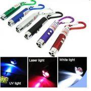 Mini Lanterna Chaveiro 3 Funções  LANTERNA - LASER POINT e UV, Identificador de Nota falsa