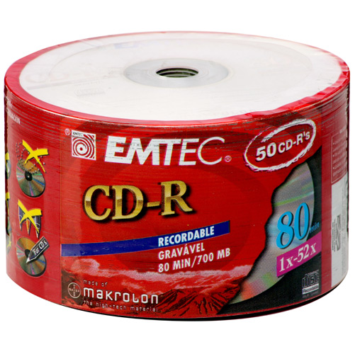 CD-R 700MB/80min - (Pino C/ 50) - Emtec