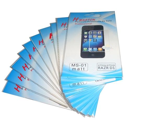 Lote 10 Películas Plástico Motorola RAZR D1 XT916 / XT918