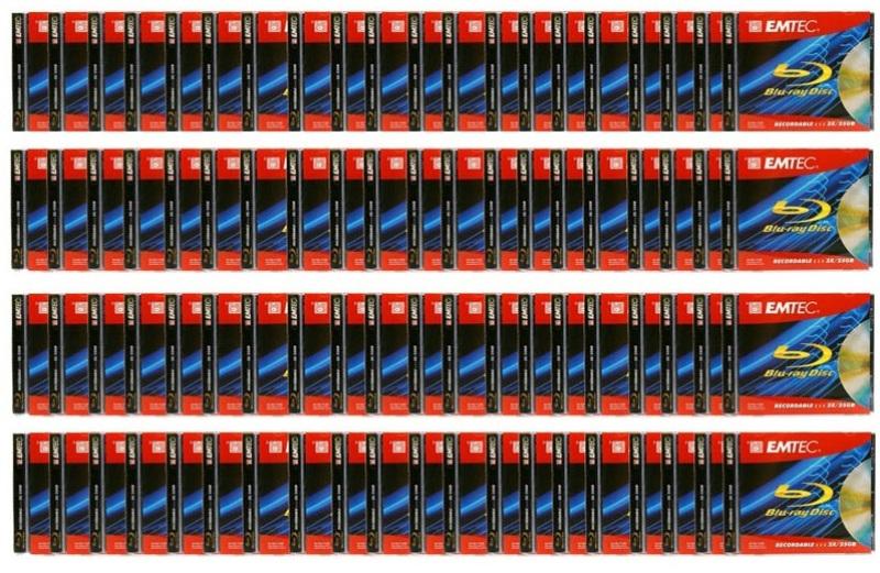 Pacote C/ 100 Mídia Blu Ray Gravável  25GB 6x Emtec no Estojo