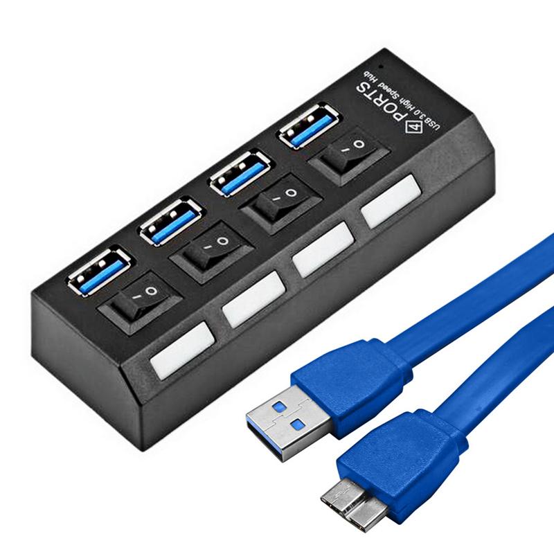 HUB USB 4 Portas 3.0 C/ Botão Liga e Desliga Preto