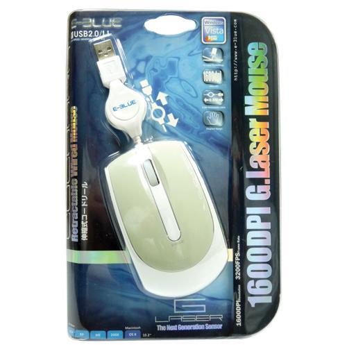 Mouse Laser Retrátil USB Cuchara 1600dpi Cinza E-BLUE