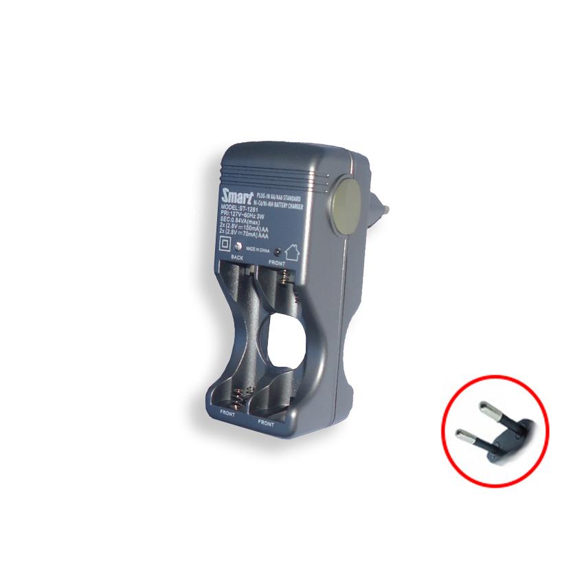 Carregador de Pilhas até 4 pilhas Smart 127v S/ Pilhas Prata ST-1281 AA AAA