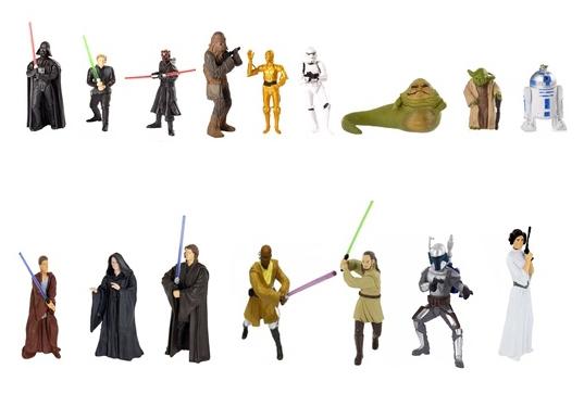 Kit C/ 5 Bonecos Colecionáveis Chaveiros 4 à 11cm Star Wars